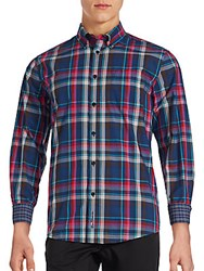 Ben Sherman Madras Plaid Button Down Shirt After Dark