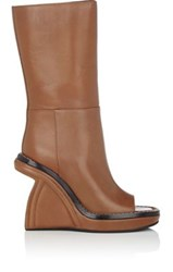Marni Women's Sculpted Wedge Mid Calf Boots Tan