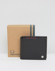 Fred Perry Leather Billfold Wallet With Tartan Lining Black
