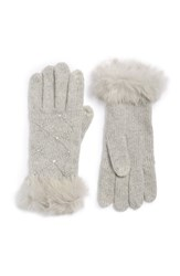 Women's Shiraleah 'Grace' Genuine Rabbit Fur Cuff Tech Gloves Grey