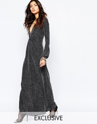 Reclaimed Vintage Sexy Plunge Neck Long Sleeve Maxi Dress In 70'S Glitter Knit Silver