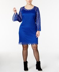 Ny Collection Plus Size Bell Sleeve Lace Dress Surf Cut Edge