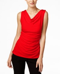 Calvin Klein Fit Solutions Draped Cowl Neck Top Red