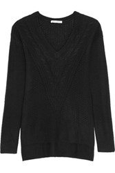 Autumn Cashmere Pointelle Trimmed Knitted Sweater Black