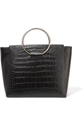 Little Liffner Ring Croc Effect Leather Tote Black