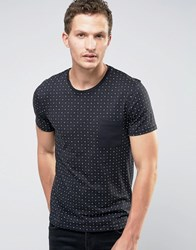 Selected Homme T Shirt In Print With Contrast Pocket Black