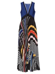 Mary Katrantzou Rindi V Neck Stripe Print Maxi Dress Black Multi
