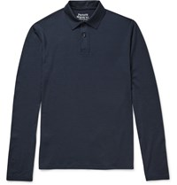Private White V.C. Merino Wool Polo Shirt Blue