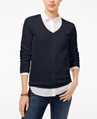 Tommy Hilfiger Ivy Cable Knit Sweater Masters Navy
