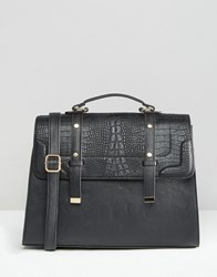 Asos Croc Tab Satchel Bag Black