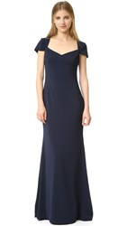 Badgley Mischka Collection Cap Sleeve Odessa Gown Navy