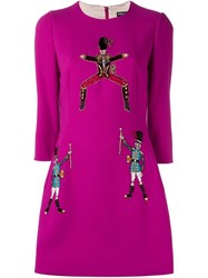 Dolce And Gabbana Toy Soldier Applique A Line Dress Pink And Purple