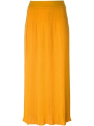 Sonia Rykiel Pleated Long Skirt Yellow And Orange