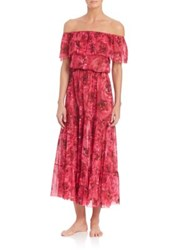 Fuzzi Off Shoulder Floral Dress Coverup Red