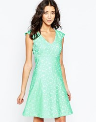 Traffic People Falling Flowers Swoon Dress In Daisy Jaquard Green
