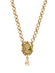 Dolce And Gabbana Swarovski Pearl Embellished Cameo Necklace