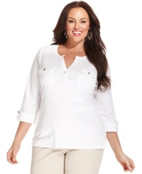 Charter Club Plus Size Three Quarter Sleeve Henley Top White