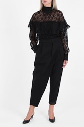 A.W.A.K.E. Lace High Neck Blouse Black