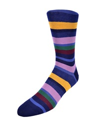 Black Brown Striped Cotton Rich Socks Navy