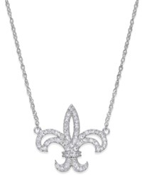 Macy's Diamond Fleur De Lis Pendant Necklace 1 4 Ct. T.W. In 14K White Gold