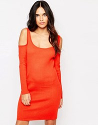 Girls On Film Colour Ribbed Jumper Bodycon Dress Tomato Red