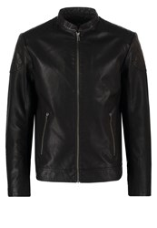Jack And Jones Jcorush Faux Leather Jacket Black