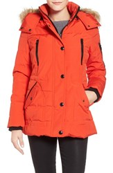 Women's Guess 'Expedition' Short Quilted Parka With Faux Fur Trim Orange