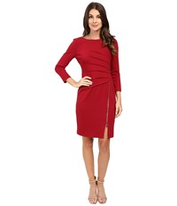 Ivanka Trump Long Sleeve Ponte Dress With Side Zipper Ruby Red Women's Clothing