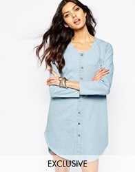 Reclaimed Vintage Button Front Tunic Shirt Dress In Denim Bluedenim