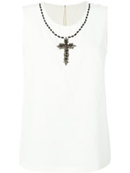 Dolce And Gabbana Rhinestone Cross Embellished Top Nude And Neutrals