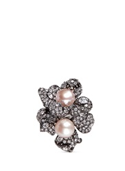 Anabela Chan 'Blossom Pearl' Diamond Pave 18K Black Gold Ring Pink Metallic