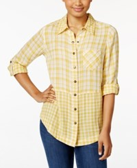 Styleandco. Style Co. Plaid Cuffed Sleeve Shirt Only At Macy's Palace Plaid Yellow