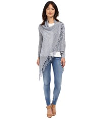 Christin Michaels Arabell Long Sleeve Asymmetrical Fringe Cardigan Light Blue Women's Sweater
