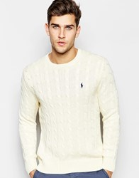Polo Ralph Lauren Jumper With Cable Knit In Cream Cream