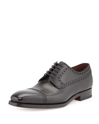 Perforated Cap Toe Lace Up Black Magnanni For Neiman Marcus