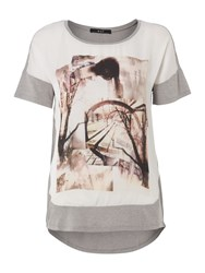 Oui Satin Graphic Tee Multi Coloured Multi Coloured