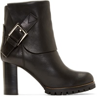 Chloe Black Leather Foldover Buckle Boots