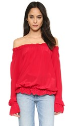 Emerson Thorpe Faye Off Shoulder Blouse Red