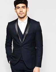 Selected Homme Stretch Skinny Luxe Polka Dot Tuxedo Jacket Navy Black