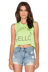 Local Celebrity Lost Me At Hello Crop Muscle Tank Green