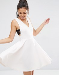 Asos Full Mini Dress With Lace Side Panel Detail Nude Pink