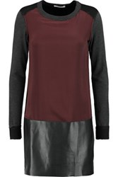 Bailey 44 Silk Crepe De Chine Faux Leather And Jersey Mini Dress Burgundy