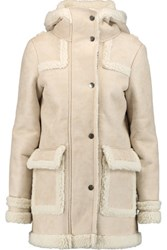 Maje Faux Brushed Suede And Shearling Hooded Coat Beige