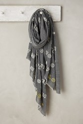 Anthropologie Embroidered Poetry Scarf Grey