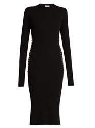 Thierry Mugler Ring Embellished Long Sleeved Ribbed Knit Dress Black