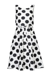 Jolie Moi Polka Dot Jacquard Overlay Dress Black