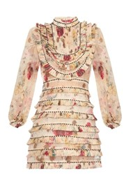 Zimmermann Mischief Floral Print Pleated Silk Organza Dress White Multi