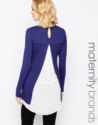 Mama Licious Mamalicious Two In One Layered Top With Open Back Detail Blue
