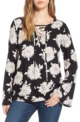 Sun And Shadow Women's Floral Print Lace Up Top