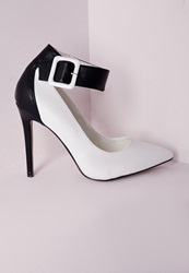 Missguided Ankle Strap Court Shoes Monochrome White